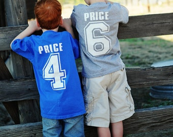 Sporty  Jersey  Birthday Tee for Boys..........Number on Front and Back with Name
