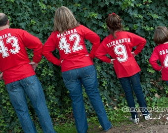 Christmas Sporty  Jersey  Number Tee for the Whole Family.......... Long Sleeve with Number on Front and Back with Name
