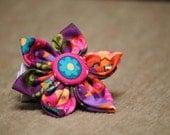 Purple Owl Fabric flower