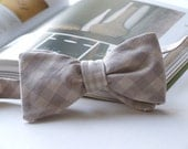 Cotton, Gingham Bow tie, freestyle, for men, self tie, adjustable bowtie, colour beige.