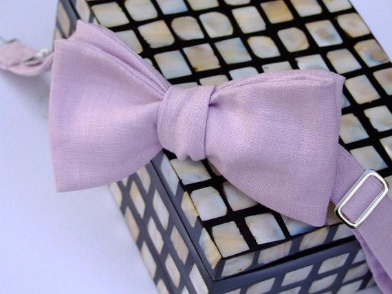 Beautiful Linen Bow Tie, freestyle, for men, self tie bowtie.