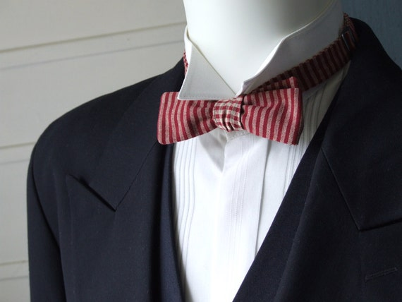 mens bowtie, red check & stripe fabric mix, self tie, freestyle bow tie for men.