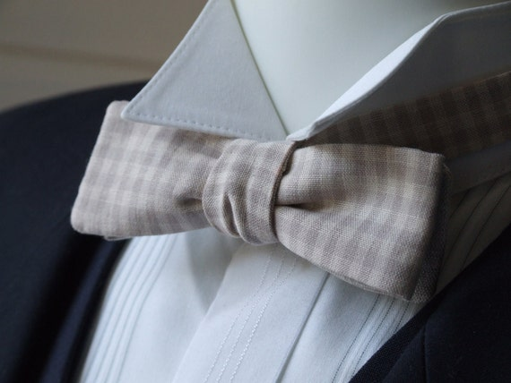 Bowtie - skinny style - beige gingham fabric & pure linen fabric on reverse, self tie, freestyle for men.