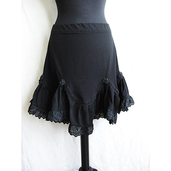 Skirt Sevilla, Victorian, Gothic, Steampunk, Lolita, black tricot, Somnia Romantica by Marjolein Turin