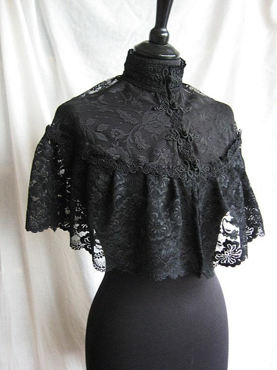 Capelet Noir, victorian, steampunk, edwardian, black lace, Somnia Romantica by Marjolein Turin