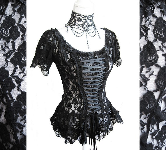 Top Frances, victorian, burlesque, steampunk, black lace, Somnia Romantica by Marjolein Turin