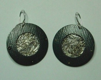 Donut and Mesh silver earrings by AnOtherRing to order