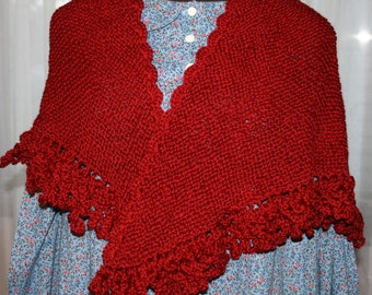 Victorian Hand Knitted Wool Shawl with Crocheted  Edging for Reenactment or Just Because