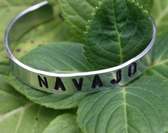 NAVAJO - Hand Stamped Cuff Bracelet - Tribal Name Cuff - Personalized Jewelry - Gift For Her - Non Tarnish Cuff - Native American Inspired