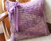 SALE PRICE - Hand knit pillow in shades of purple alpaca wool with ribbon