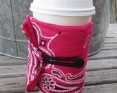 Hot pink bandana drink buddy - a reusable coozie for your can, bottle or coffee cup