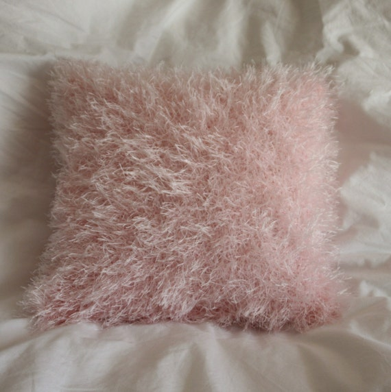 Cotton candy pink fun fur hand knitted pillow cover - READY TO SHIP