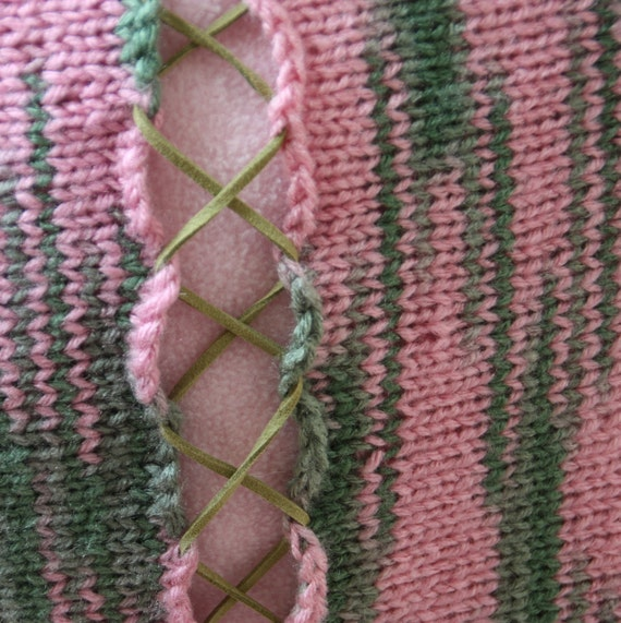 Pink and green ikat hand knit laced pillow with insert