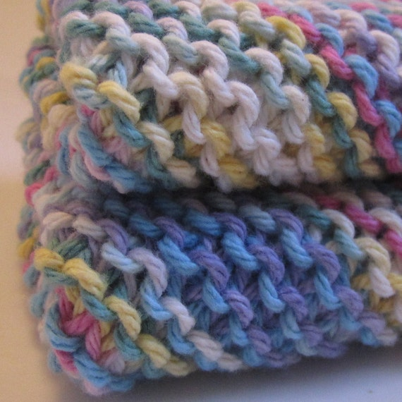 Fruit pastel - two hand knit 8x8 cotton eco friendly dishcloths or washcloths