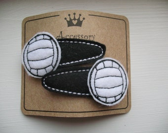 Sporty Volleyball Embroidered Felt Hair Clip