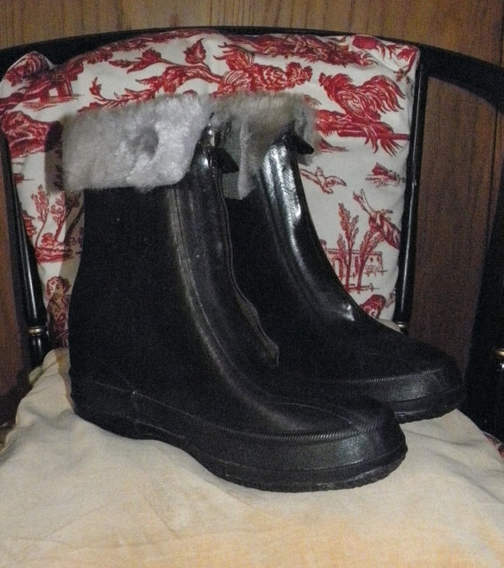 Vintage Rubber Boots Womens Galoshes With Fur Trim