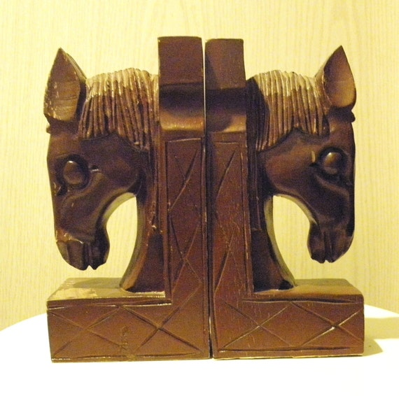 Vintage Horse Head Bookends, Horse Bookends, Wooden Brown Horsehead