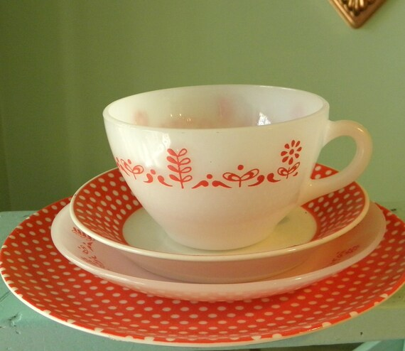 Vintage Teacup and Saucers, Fitz and Floyd, Termocrisa, Hodgepodge Tea Setting in Red Polka Dots