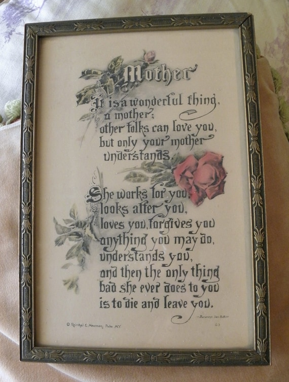 Vintage Mother Poem Mother S Day Picture In Antique