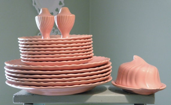 Vintage Franciscan Ware Lot, Coronado Swirl in Coral, Light Salmon Pink Vintage Dishes