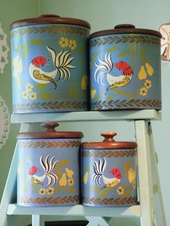 Vintage Ransburg Canister Set, Folk Art Canister, Blue Partridge Kitchen