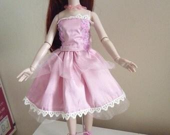"PINK SILK  strapless dress for Ellowyne pru ect 16"" Dolls"