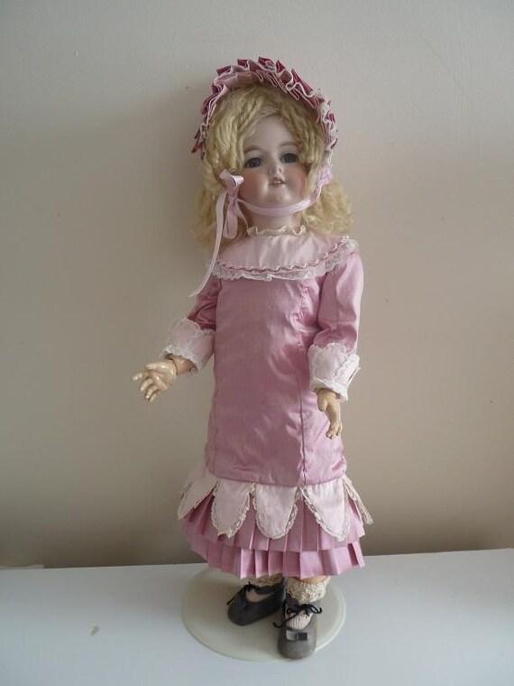 Antique dolls  silk dress and Bonnet