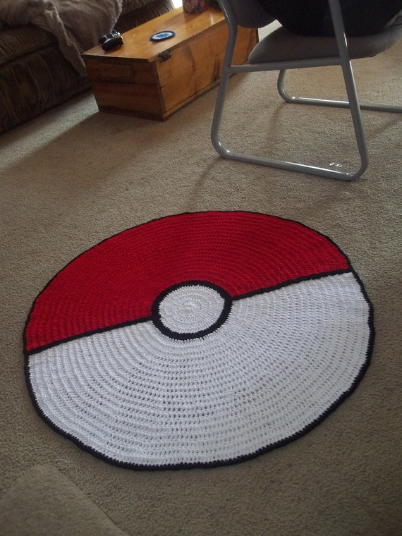 Giant pokeball rug by harmonden on etsy Controller rug