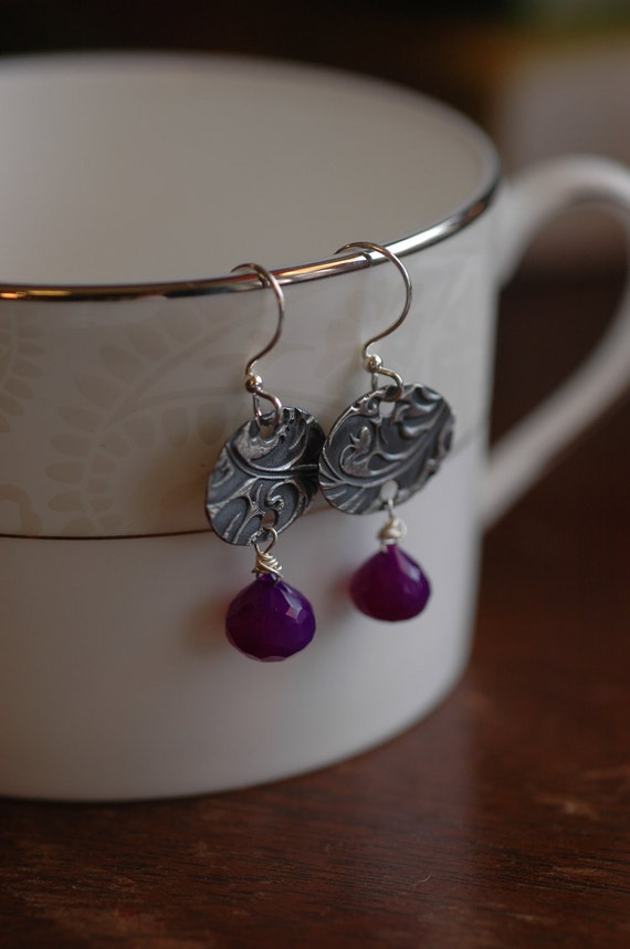 Purple Flourish Ovals on Fine Silver earrings with briolette