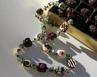 Chocolate lover's lampwork beaded necklace minty and yummy