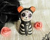 OOAK Goth Miniature Figurine- Day of the Dead Bear