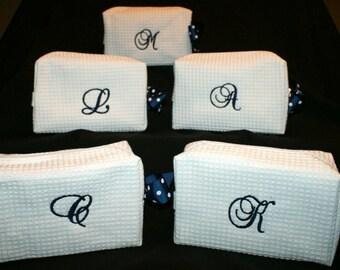 Large Cosmetic Bags - Toiletry Bags - Make up Bags - Bridesmaids Cosmetic Make Up Bag - Monogrammed Bridesmaid Cosmetic Bag - Set of 5
