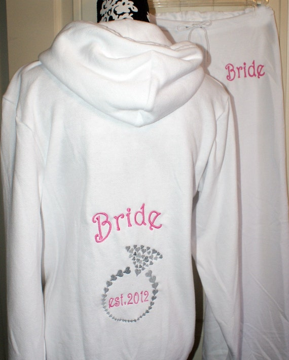 Brides Gift Mrs Zippered  Zip Up Fleece Hoodie Jacket with Diamond Ring & Pants Personalized