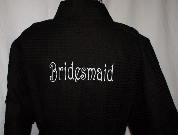 Bridesmaid Gift Spa Robe, Bridesmaid Robe, Bridesmaids Robes, Bridesmaids Gift, Brides Robe, Personalization on Front and Title on Back