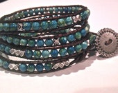 Chan Luu Style Leather  4 four Wrap Turquoise and Silver Bead Bracelet