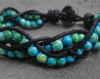 Custom Boho Turquoise Leather Wrap Braided Bead Bracelet