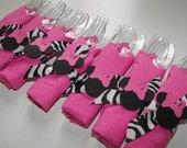Minnie Mouse Napkin Rings, 10 Birthday Napkin Cutlery Zebra Print