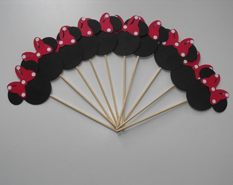 Minnie Mouse Cupcake Toppers with Red and white Polka dot Bow