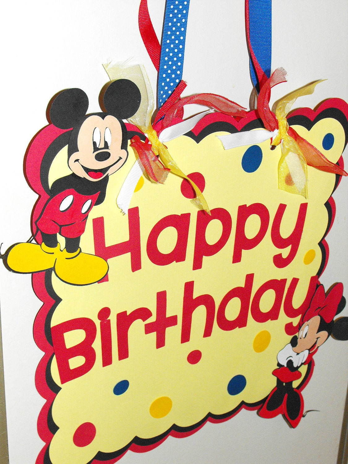 mickey mouse happy birthday door sign minnie mouse door sign. Black Bedroom Furniture Sets. Home Design Ideas
