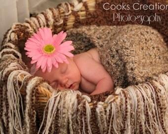 Crochet Fringe Blanket Photo Prop - Custom Colors