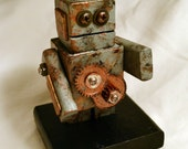 Rusted Robot, office desk sculpture, found object art, geek gift