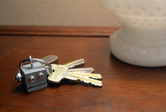 Robot Key Chain, Gray Functional Art