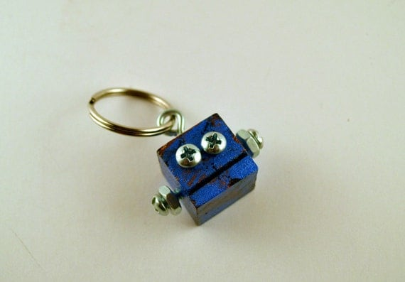 Robot Key Ring Key Chain Accessory, Functional Art, Rusted blue