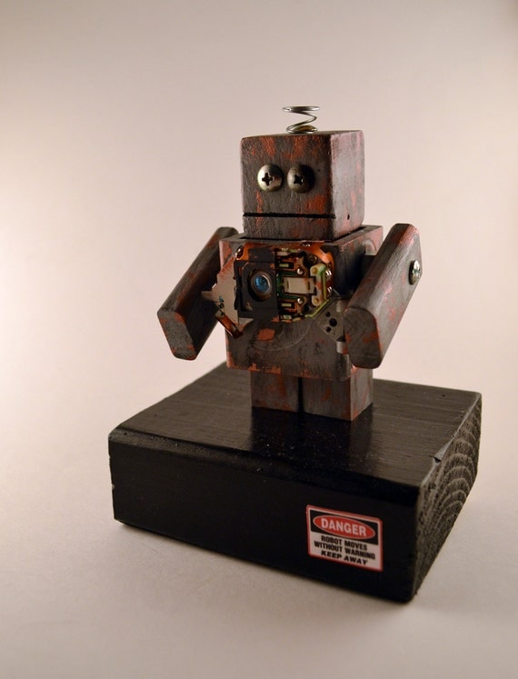 found object robot art, geek gift, rusted gray desk sculpture office accessory science fiction fathers day