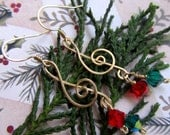 Christmas Carol Treble Cleff Earrings - Brass Wire Wrapped Musical Jewelry - Red and Green Crystal - FantasiaElegance