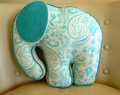 Elephant Pillow in Aqua and Cream