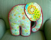Elephant Pillow Blue Yellow Pink & Green