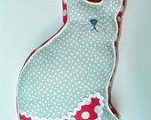 Cat and Mouse Pillow in Pink and Gray