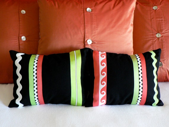 Coral, Lime, Black and White Pillow Covers  12 X 16- Set of 2