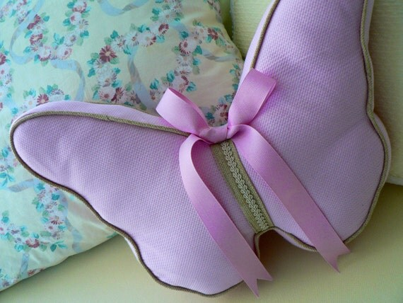 Pink Pastel Butterfly Pillow